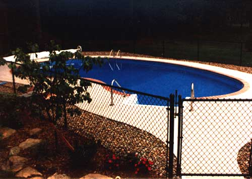 sample black vinyl chain link fence, swimming pool