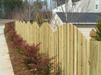 Raleigh Fence, Half Moon, Wooden Fencing with French Gothic Posts